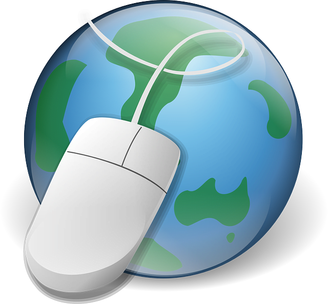 The earth, focused on Australia, with a computer mouse in-front.