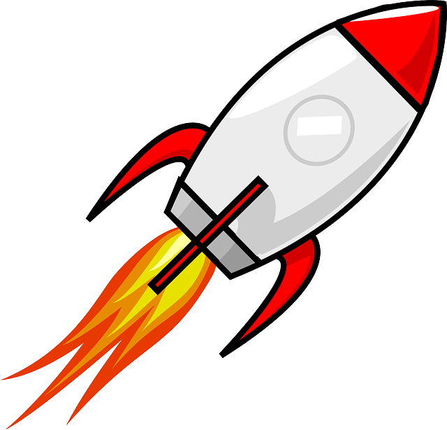 Space rocket graphic, with flames coming out of the bottom.